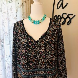 Lush Tops - LUSH - Beautiful Flowing Blouse With Tassles